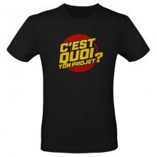 """T-shirt """"C'est quoi ton projet ?"""" noir"""