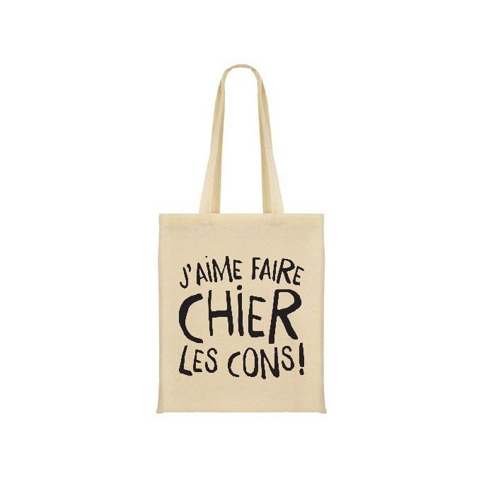 """Sac shopping """" Ferme la ! Physiquement """" coton bio"""